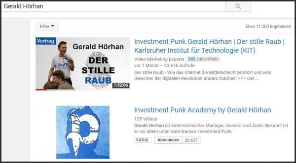 Video-Suchmaschinenoptimierung Gerald Hörhan Video-SEO
